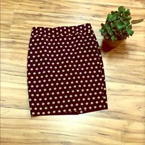 LOFT polka dot pencil skirt - size 0P